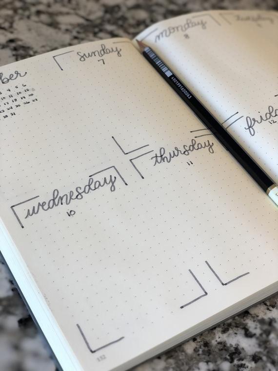 Custom Bullet Journal Planner *Completed bullet journal hand drawn with your input - #Bullet #Completed #Custom #drawn #hand #input #Journal #layout #Planner #bulletjournalideas