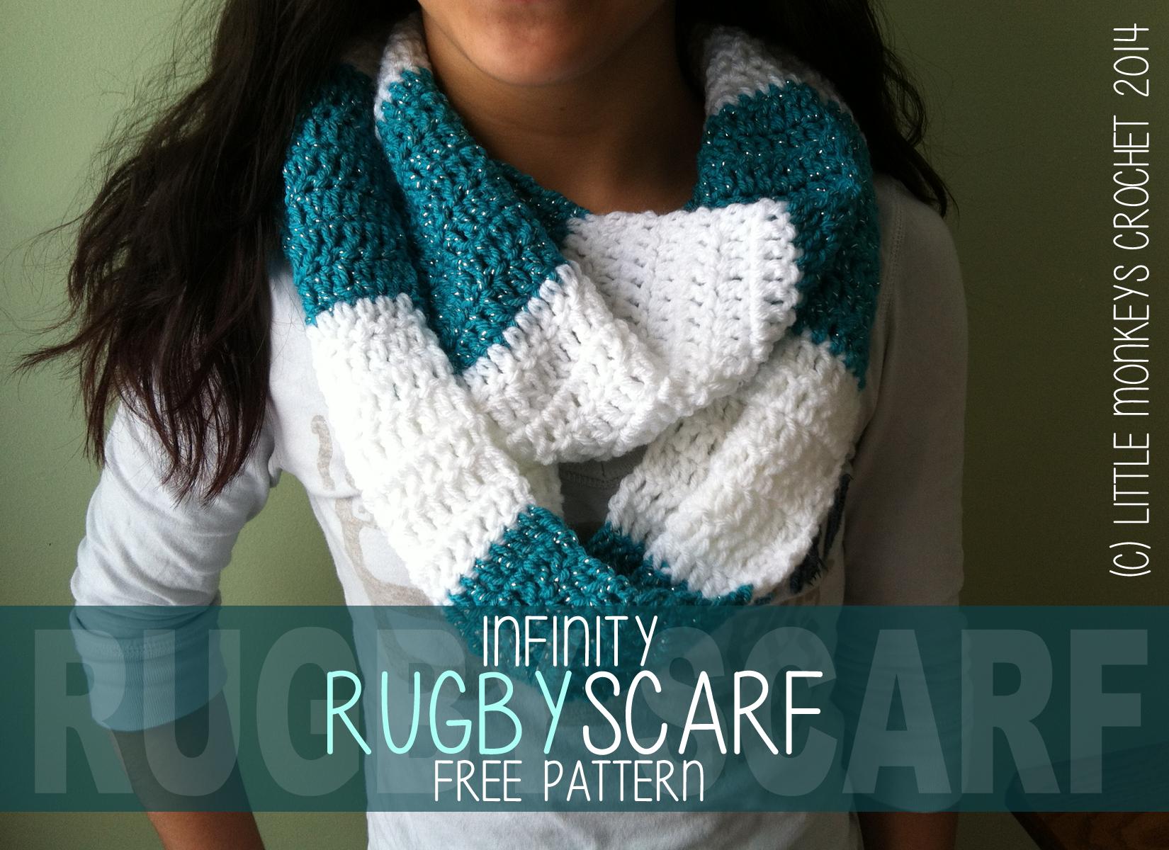 Crochet Infinity Rugby Scarf Pattern (Free Crochet Infinity Striped ...