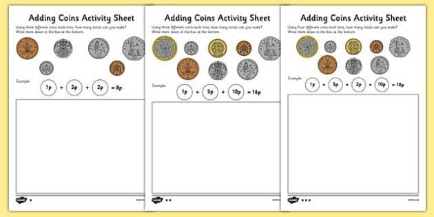 Adding Coins Activity Sheet  Maths    Coins Addition