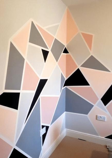 25 Diy Tape Mural Wall Art Paint Ideas Eweddingmag Homedecorationideas Homedesign Homeinteriordesign Tape Wall Art Bedroom Wall Paint Diy Wall Painting