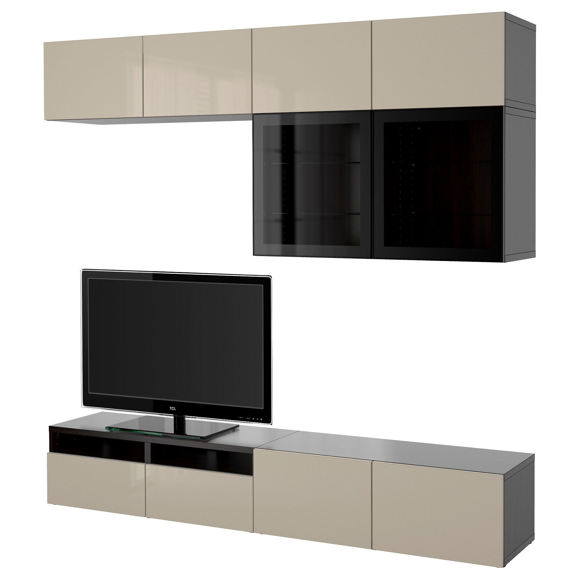 Ikea Besta Tv Storage Combination Glass Doors Black Brown Selsviken Tv Room Design Tv Storage Ikea
