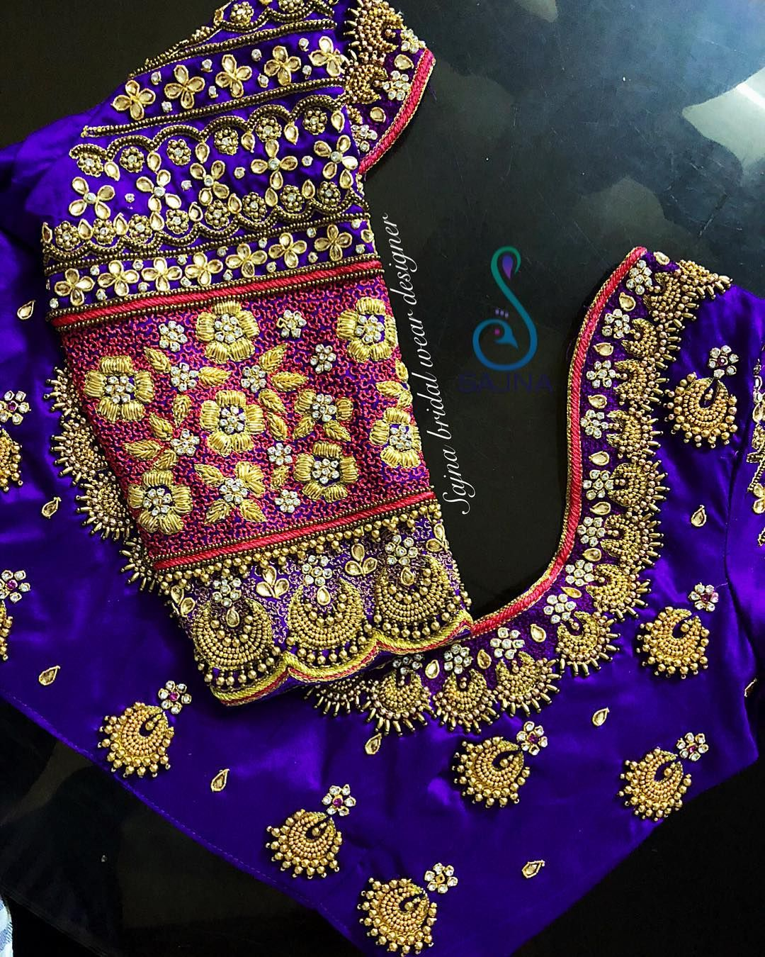 Wedding decorations purple october 2018 Beautiful bridal designer blouse with chaandbali design hand