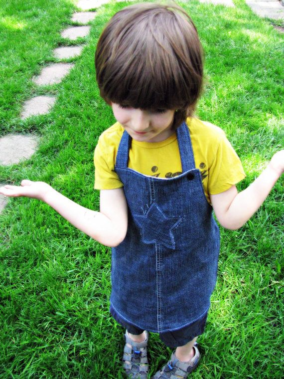 eco friendly kids jeans craft Apron upcycled