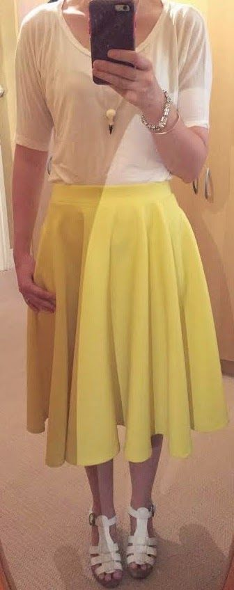 The Girl With Nothing to Wear: White shirt, yellow skirt, casual style, spring style
