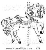 Clip Art Of A Carousel Horse Facing Right On Spiral Pole Coloring Page By C Charley Franzwa