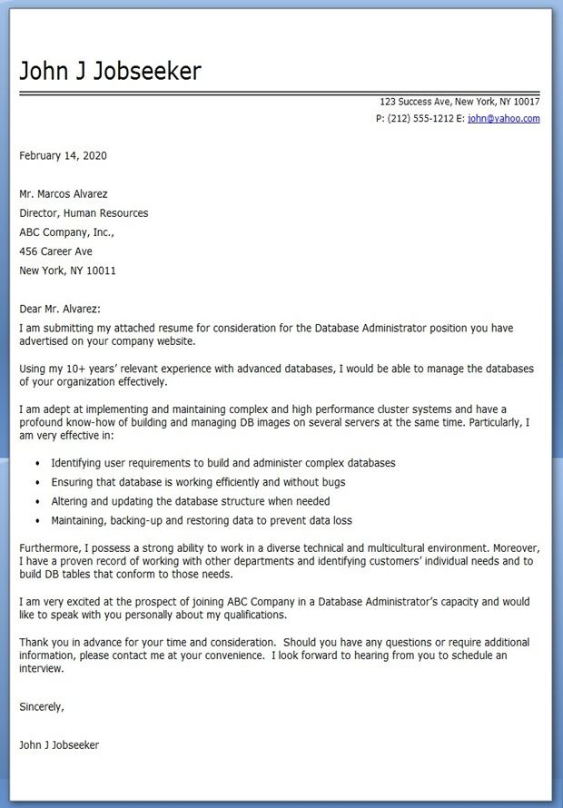 Database Administrator Cover Letter Sample Career Pinterest