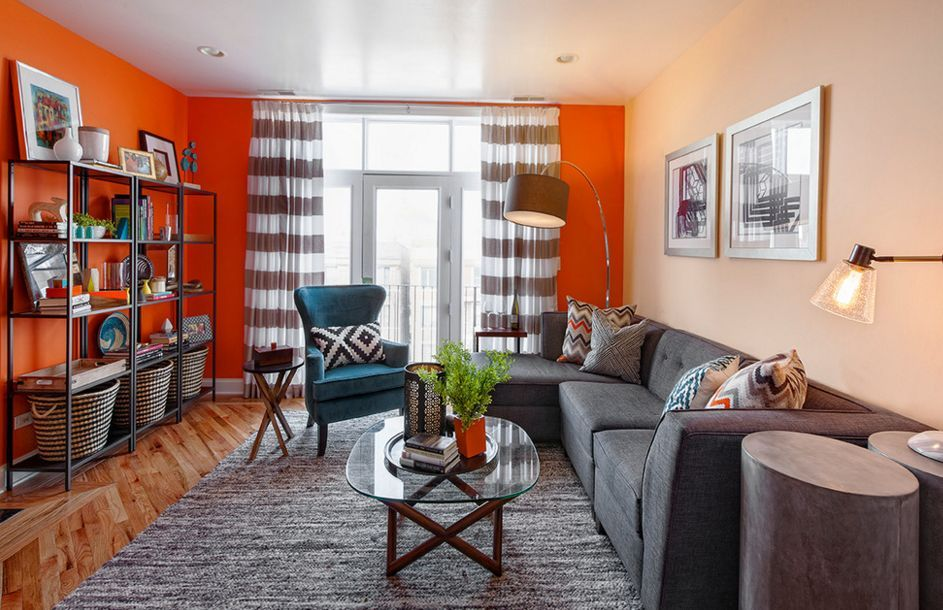 Fall Into Orange Living Room Accents For All Styles Living Room Orange Condo Living Room Condo Living #orange #living #room #accents