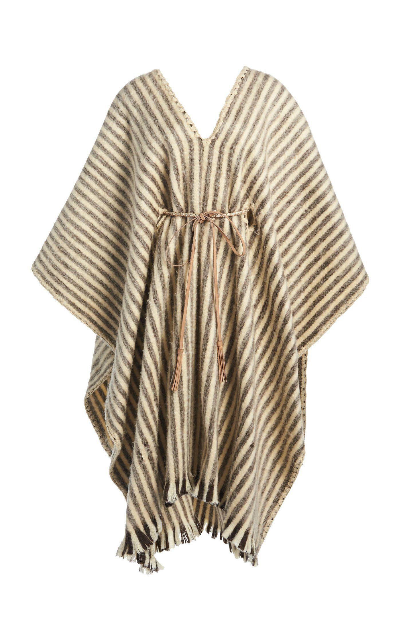 Abrazame A Besos Striped Wool Poncho By Johanna Ortiz Moda Operandi In 2021 Wool Poncho Embroidered Wool Fashion