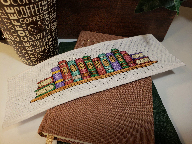 Cross Stitch Pattern Colored Row Of Books Bookmark Digital Pdf