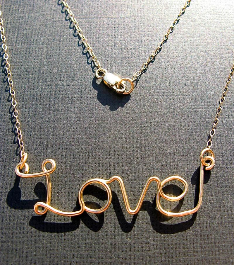 Gold LOVE Necklace14k Gold Filled Wire Writing by GlitterRT