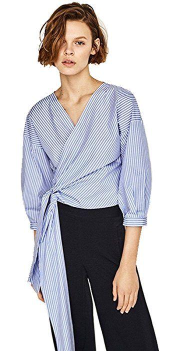 95070e08bec Sexy Deep V Neck Cross Wrap Front Self Waist Tie Striped 3 4 Sleeve  Surplice Blouse Shirt Top Blue 2XL