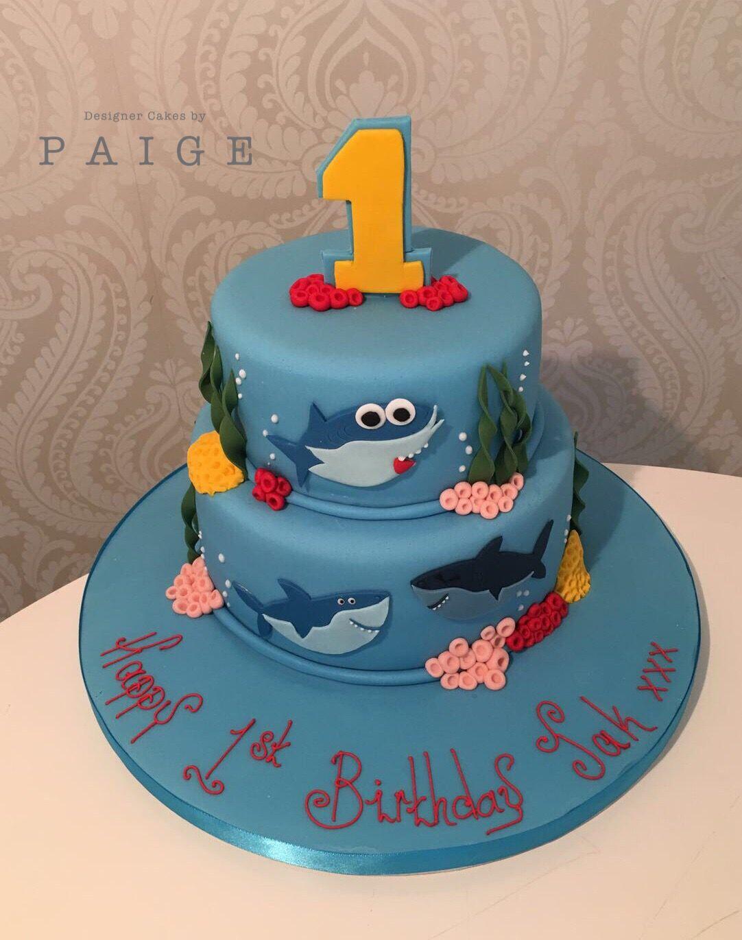 Boys baby shark first birthday cake Birthday Parties