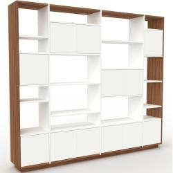 Photo of Wohnwand Weiß – Individuelle Designer-Regalwand: Türen in Weiß – Hochwertige Materialien – 229 x 200