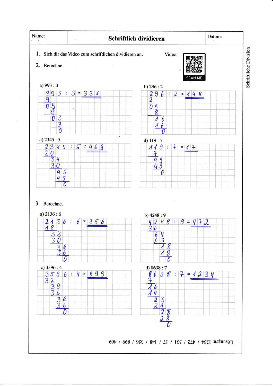Schriftliche Division   20 Aufgabenblätter + Lösungen ...