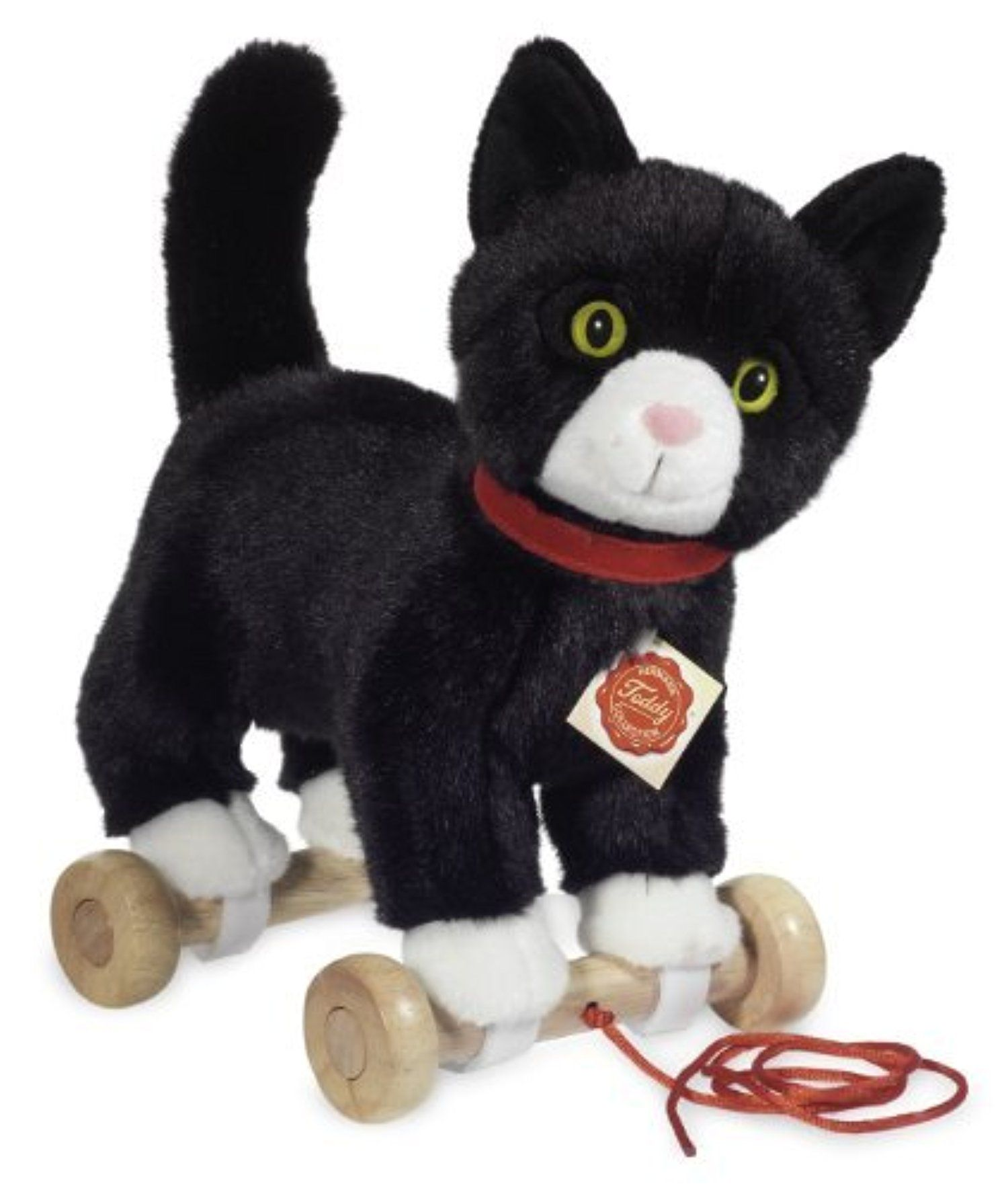 Plush Soft Toy Black White Cat Pull Along Toy On Wooden Wheels