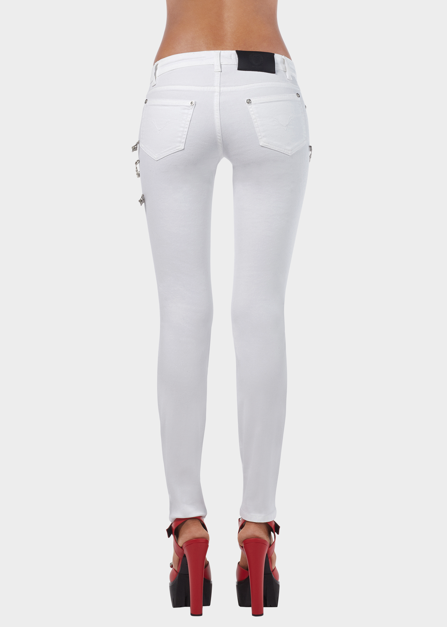 354aa9b5a74de Safety Pin Cropped Skinny Jeans - White Pants   jeans