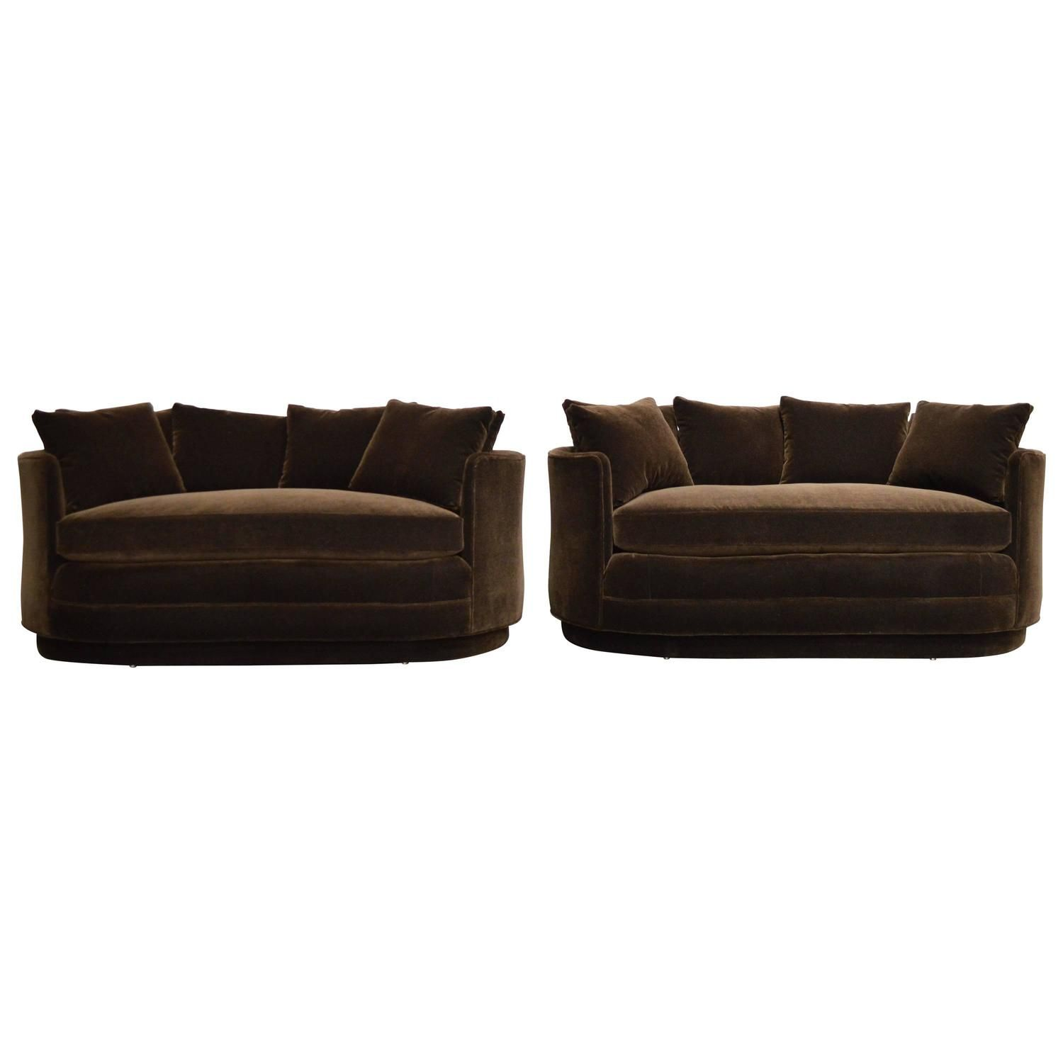 Pair Of Vintage Curved Loveseat Sofas In Chocolate Brown Mohair