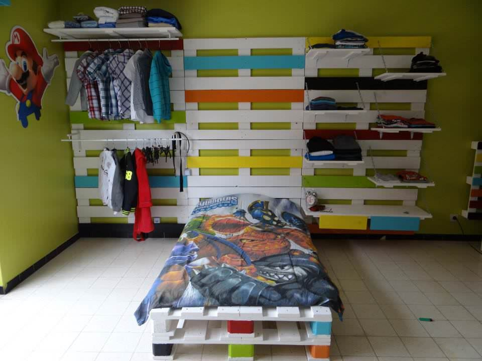 Bedroom Furniture Made Out Of Pallets bed & wardrobe rack made from 28 recycled pallets • pallet ideas