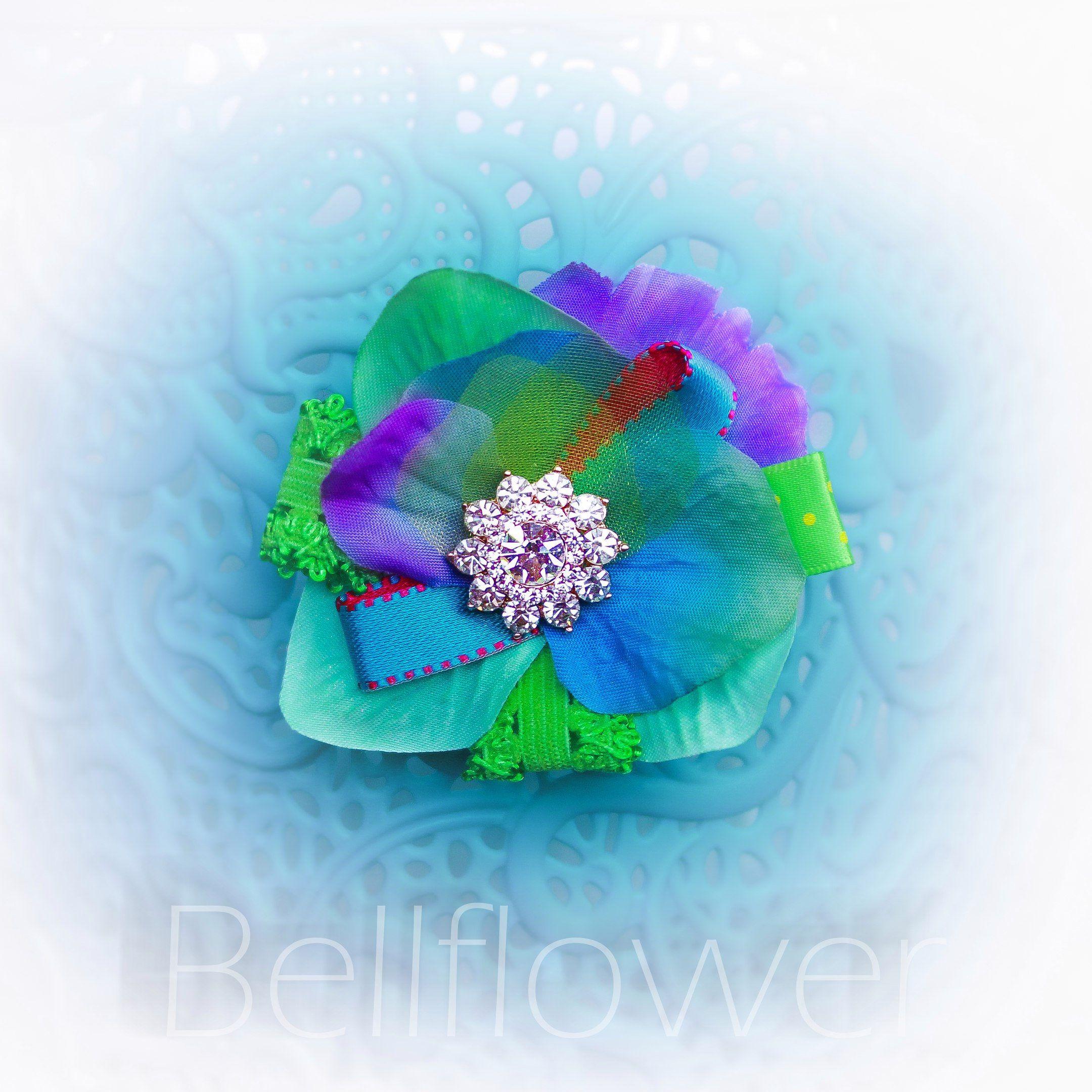 Green Blue Silk Flower Rhinestone Girl Hair Clip Wedding Flower