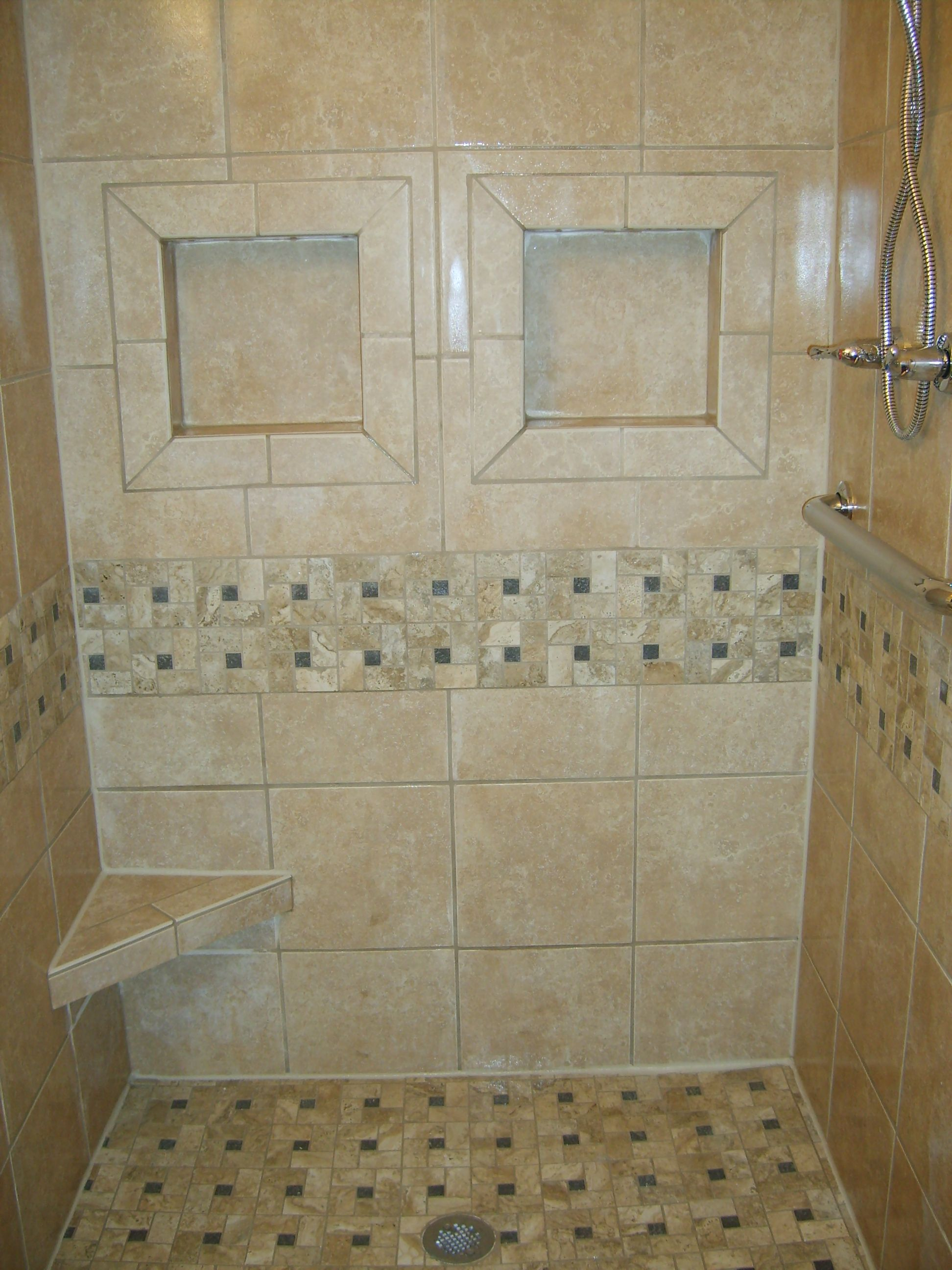 Tile Shower Too Much Of A Pattern With The Trim And Floor With
