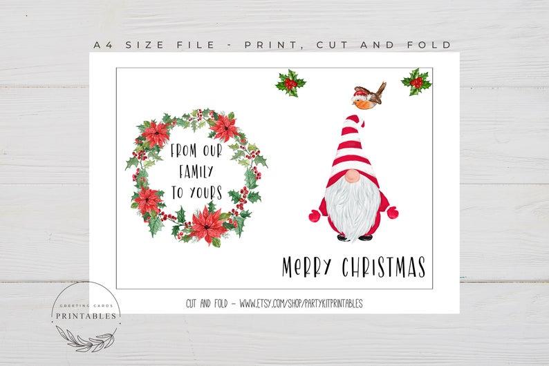 Printable Christmas Card Digital Download Christmas Greeting Etsy