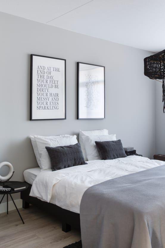 Gray, white, black, monotone and minimalist bedroom ...
