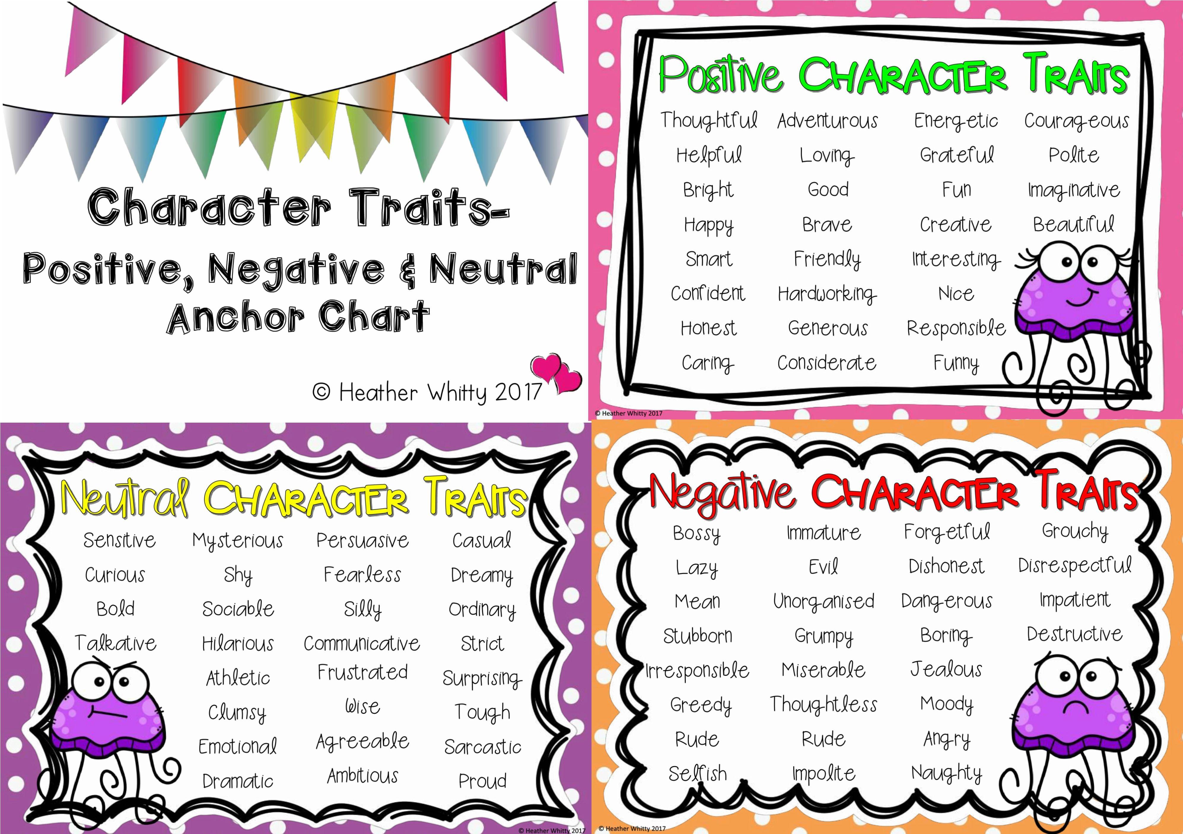 Character Traits Anchor Charts Positive Negative