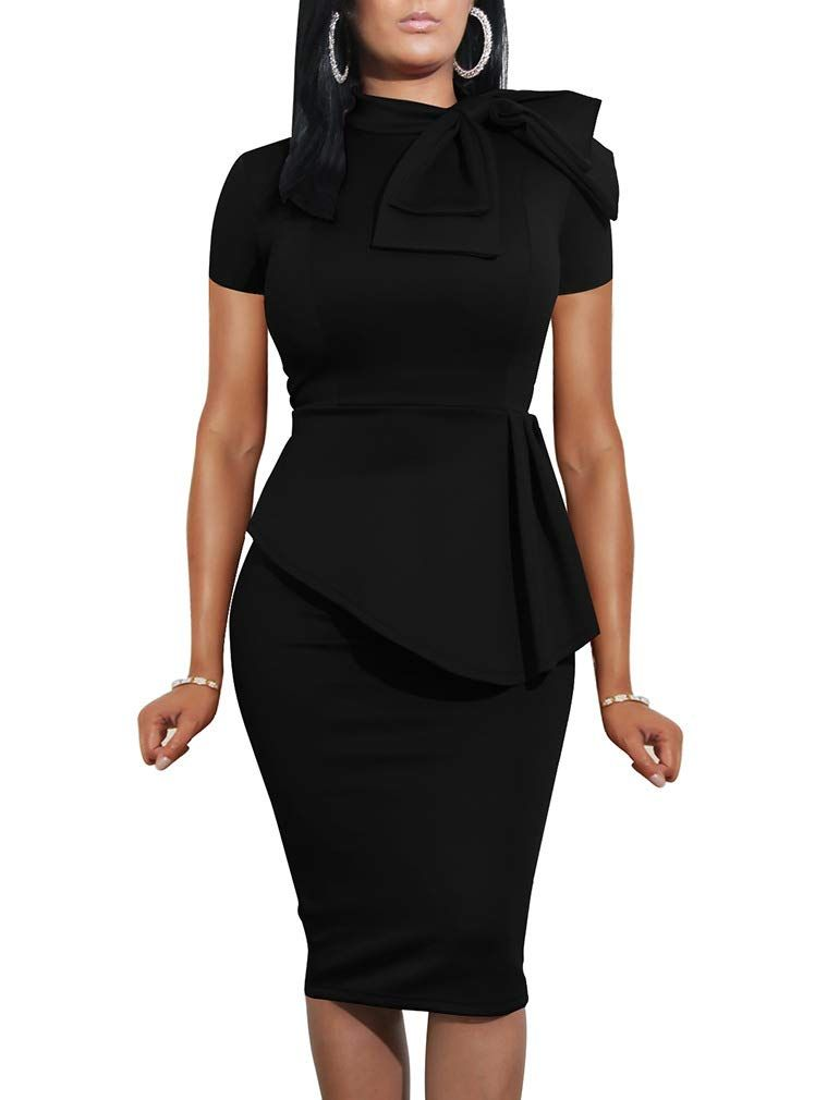 Bodycon Dress for Women Casual Short Sleeve Floral Club Pencil Party Midi Dresses