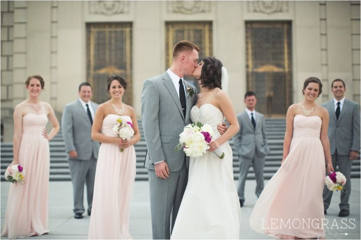 soft pink rose bridesmaids dresses, grey suits groomsmen ...