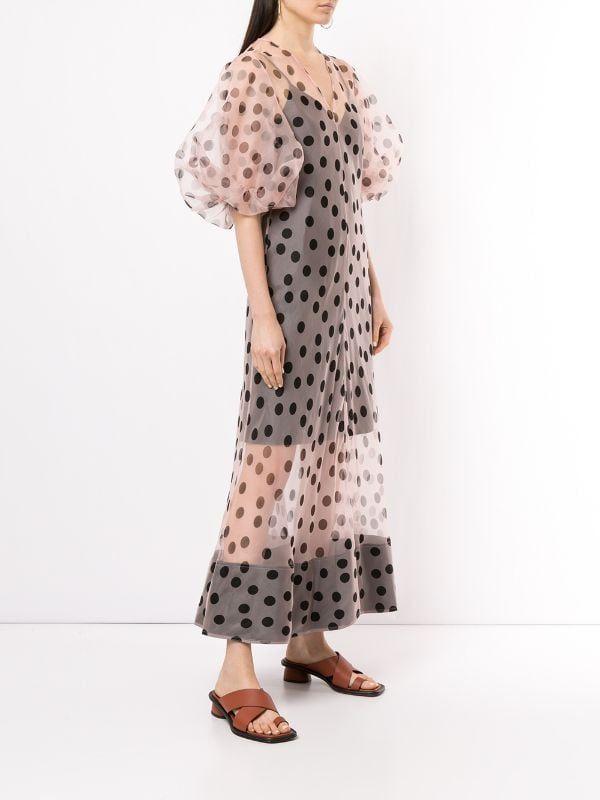 Lee Mathews 'Rayne' Organza-Kleid Mit Puffärmeln ...