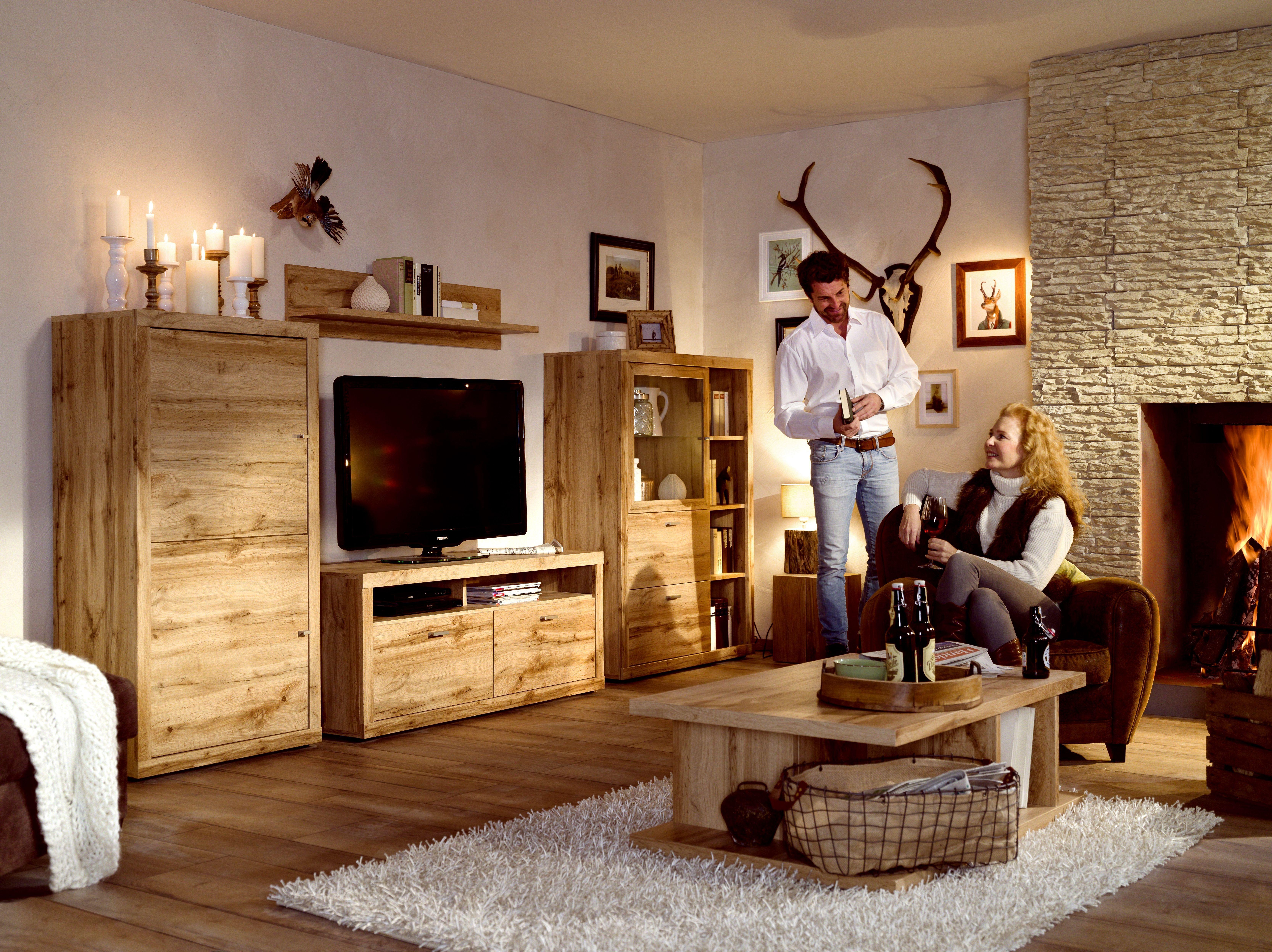 Wohnwand Mit Couchtisch Balkeneiche Woody 156 00461 Holz Modern Wohnzimmerschrank Bettfunktion