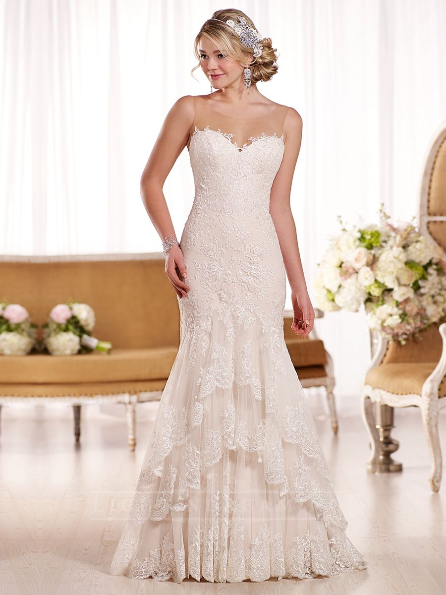 Sheer Sweetheart Fit-and-Flare Vintage Wedding Dress with Illusion Neckline