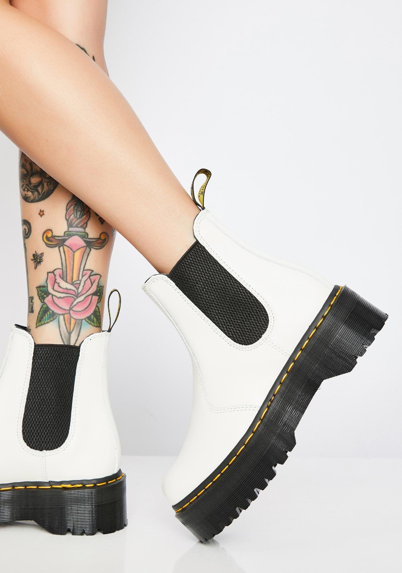 Dr. Martens 2976 White Chelsea Quad Boots | Dolls Kill