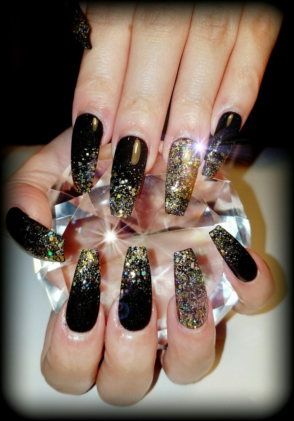 Black And Gold Glitter Coffin Nails Gold Nails Prom Black Gold Nails Gold Nails