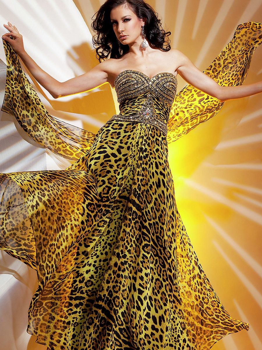Gold Animal Print Fabric Strapless Sequined Sweetheart Neckline Evening  Dresses 9c257cc48