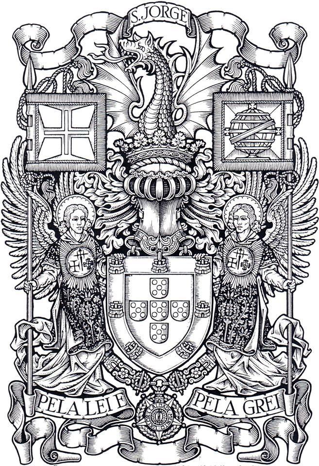 """As Armas do Reino de Portugal. Desenho de Abreu e Lima. Na obra """"Heráldica, ciência de temas vivos"""", de Almeida Langhans."""