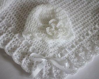 Crochet Baby Blanket / Afghan and Hat Blue by HandmadeByHallien