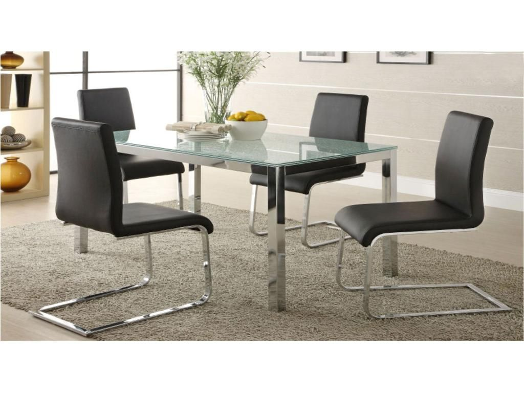 This modern and elegant dining set features a cracked-glass table and is sure to accommodate any sophisticated dining room.