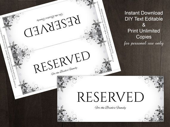 DIY Printable Wedding Reserved Sign Template Editable MS Word - microsoft word sign template