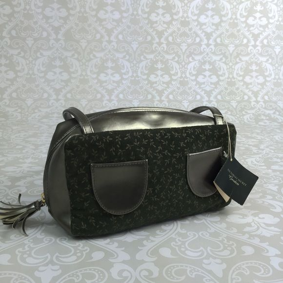 "Victoria's Secret garden green corduroy handbag 9"" wide and 4.5"" deep Victoria's Secret Bags Cosmetic Bags & Cases"