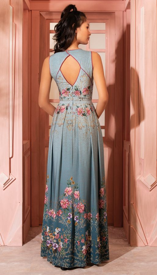 Vestido Longo Azul Estampado