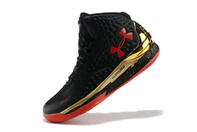 Free Shipping Only 69$ Big Boys Under Armour Curry One 1 Black Metallic  Gold Hyper