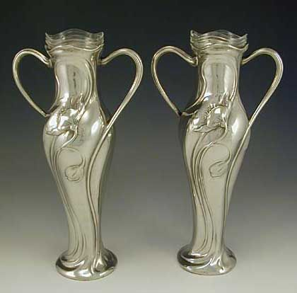 Pair Of Wmf Pewter Vases With Poppies Gaile Pinterest Wmf And