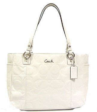 Coach Embossed Patent Leather Large Gallery E W Tote Bag 17729 Ivory White