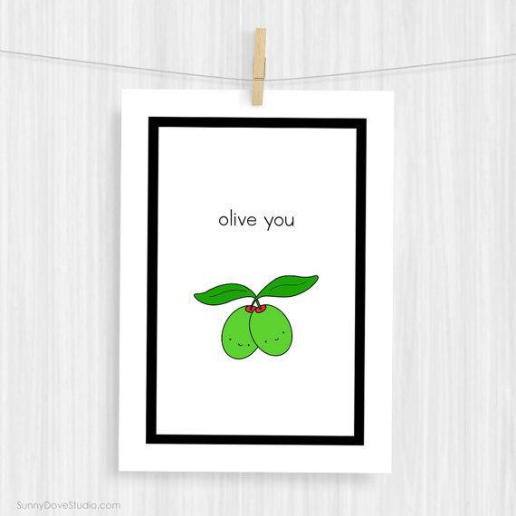 Funny Art Print Cute Love Pun Handmade Illustration #handmade #prints #love #pun #decor #art #etsy