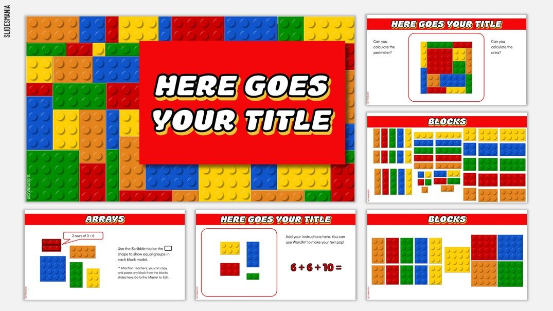 Legomania A Google Slides Template For Math Lessons Inspired By Lego Blocks Slidesmania Math Lessons Interactive Powerpoint Google Slides Template