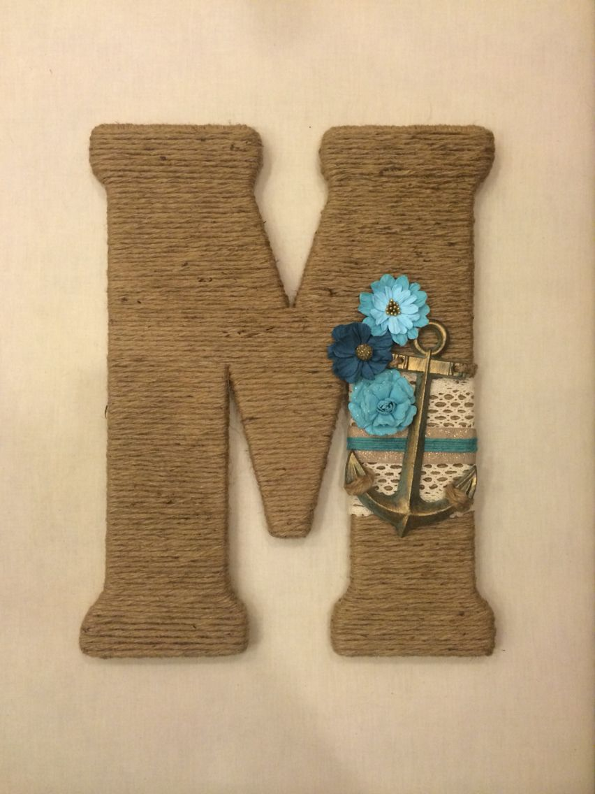 "Custom wooden letter 18"" wrapped in twine & embellished. https://www.etsy.com/shop/TwineTimeCreations?ref=l2-shopheader-name"