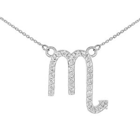 14k White Gold Scorpio Zodiac Sign Diamond Necklace