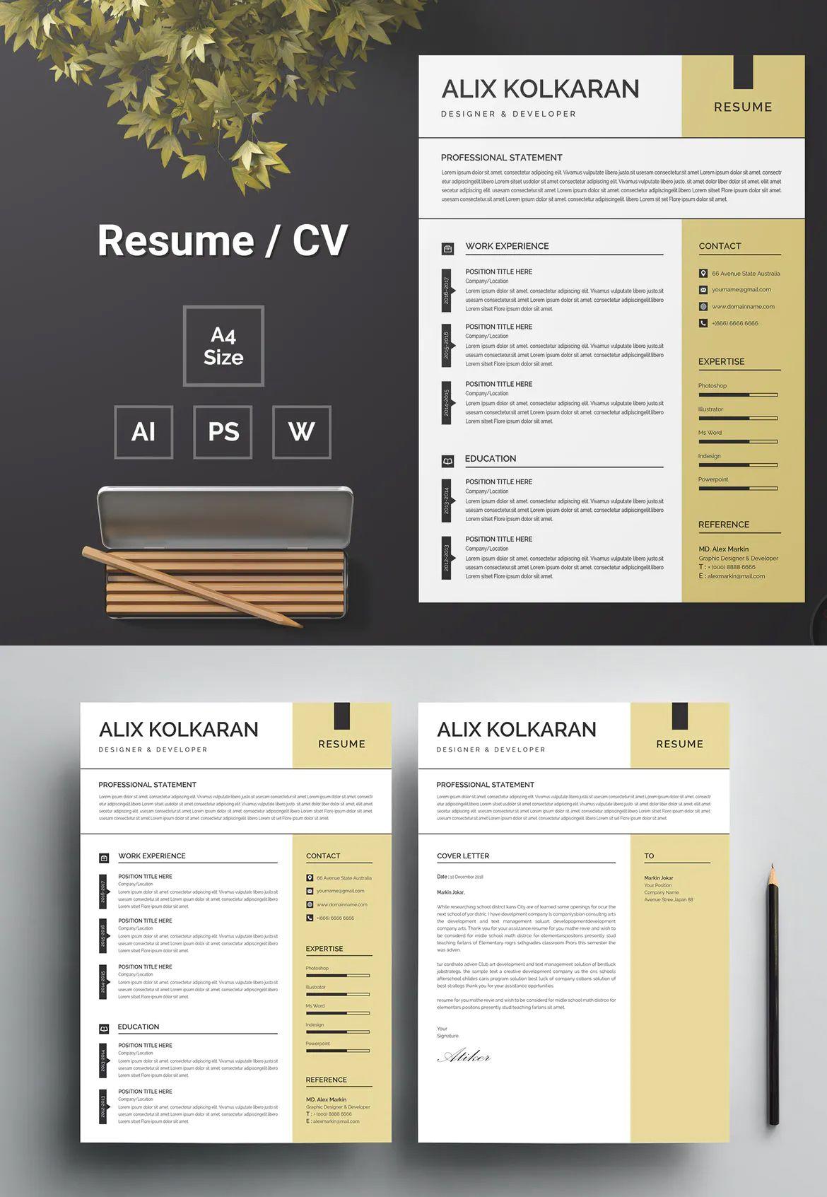 Resume Template 99 by bdthemes on Resume, Cv design