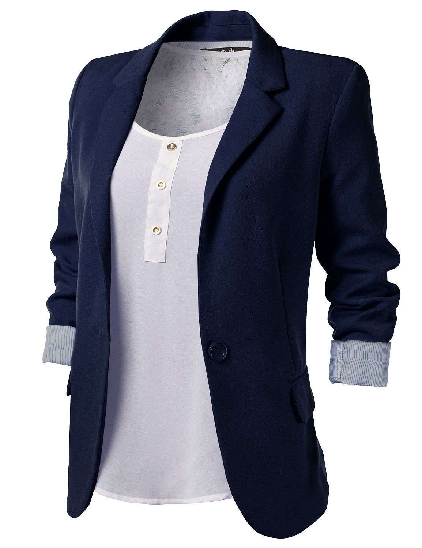 Navy Blue Blazer Women B00BYH9QM6